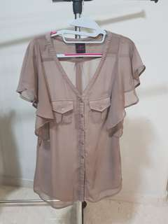 Authentic BEBE Light Brown Translucent Blouse Top w Fluttered Sleeves