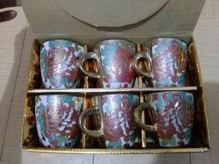 Porcelain cups, 6pcs set