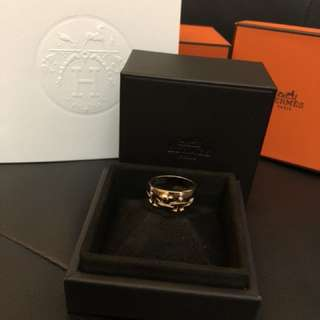 Hermes rose gold ring (bague kelly dbl tour)