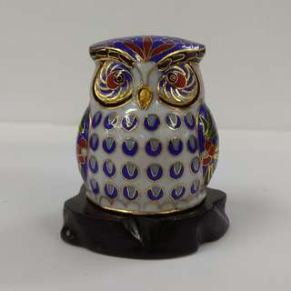 Vintage Blue Chinese Cloisonne Bird Figurine Copper Enamel Owl Statue with Wooden Stand