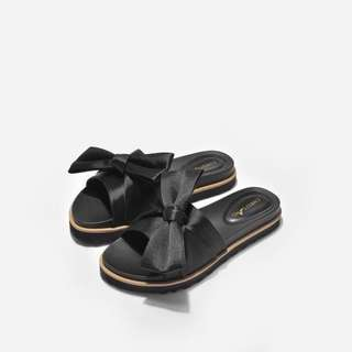 (INC POS) Siena Black Satin Sliders