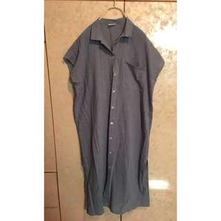側開叉棉麻長襯衫罩衫(灰藍)