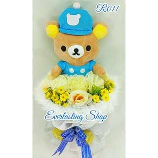Bucket Rilakkuma (R011) Buket Bunga Boneka Rilakuma Bouquet Wedding Wisuda Engaged Proposed Valentine Anniversary Kado Hadiah Unik