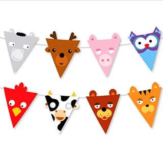 🌈 Animal theme party supplies - Animal bunting banner / party deco