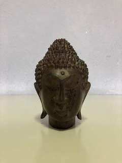 Handcrafted Solid Wooden Buddha Head Statue