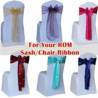 Organza Sash/ Satin Bow /Back Chair Ribbon/Back Chair Flower/Ribbon For Wedding ROM Party