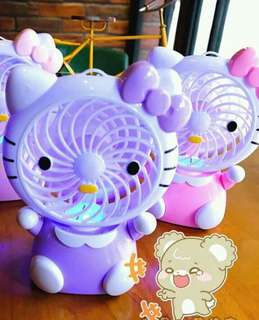 Hellokitty rechargable fan   ✔️with light  ✔️comes with cord adaptor