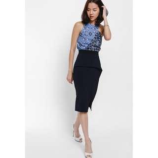 LB Yidela Asymmetrical Contrast Peplum Skirt