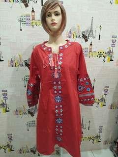 baju fashion merah bordir