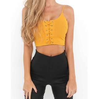 [PO] Ribbed Lace Up Crop Top