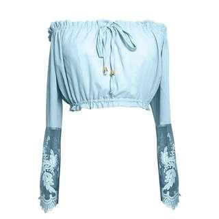 [PO] Lace Off Shoulder Crop Top