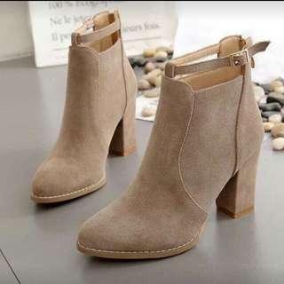 LF: Suede nude beige boots (2-3 inch heel)