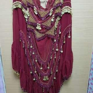 Full length Bellydance skirt in maroon colour