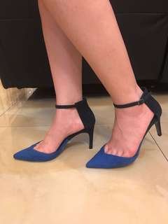 Zara pointy heels-sepatu hak tinggi-strappy heels-two tone blue color-size 36