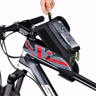 Red Bicycle Front Tube Frame Bag Waterproof Touch Screen Bike Phone Pouch Bike Accessories 6 inch