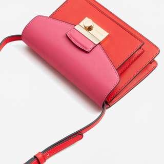 Mango Pink & Red Crossbody Handbag