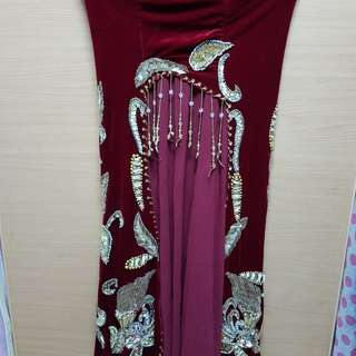 Bellydance full length skirt in dark red colour