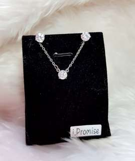 🚚 (Free gift box) swarovski elements crystal solitaire necklace earring set