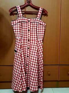 Dress red checkered gingham flare NWOT