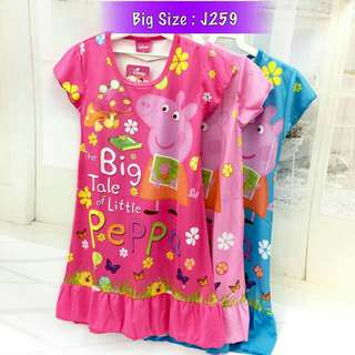 *FREE DELIVERY to WM only / Ready stock, 2pcs RM40* Kids peppa pig dress J259 each as shown in design/color rose pink L size, pink/blue S M size. Free delivery is applied for this item.