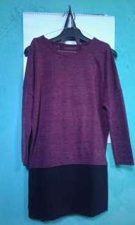 Sweater maroon kombinasi hitam