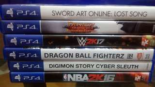 Ps4 Games WWE Divinity Digimon Dragonball SAO lost song Etc