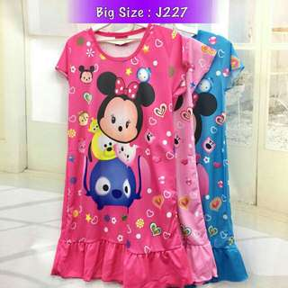 *FREE DELIVERY to WM only / Ready stock, 2pcs RM40*  Kids tsum tsum dress each as shown in design/color pink M L XL, rose L XL, blue M XL.  Free delivery is applied for this item.