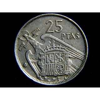 1957年西班牙(Spain)巨鷹展翅徽25披索塔鎳幣(獨裁將軍佛蘭戈像)