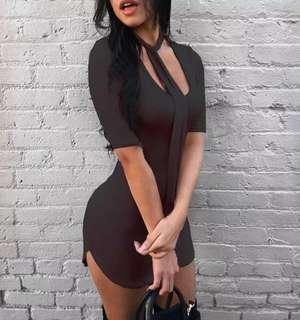 Sexy bodycon black short sleeved dress