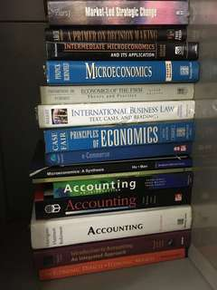 Economics/Accounting/Commerce/Business law/Marketing books