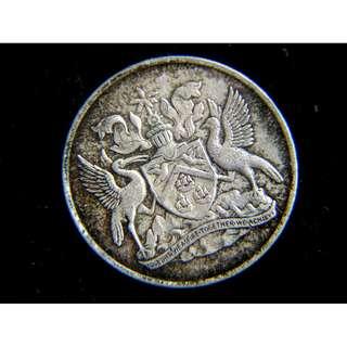 1966年千里達多巴哥國(Trinidad & Tobago)徽25仙(Cents)鎳幣