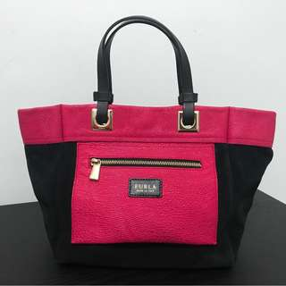Furla Small Leather Reversible Neon Pink Bag
