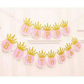*FREE DELIVERY to WM only / Ready stock* Kids happy birthday crown banner each set as shown in design/color pink, blue. Free delivery is applied for this item.