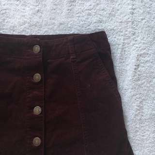 F21 Burgundy Corduroy Skirt