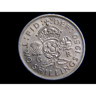 1950年大英帝國三王國國花2先令(Shiling)鎳幣(英皇佐治六世像, 原光好品)