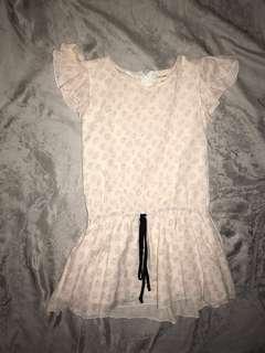 Lizzie Peppermint 8-10y Drop Waist Pale Pink Ruffle Top