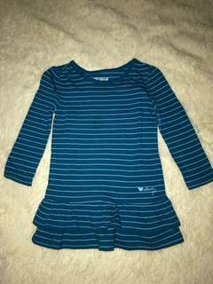 OshKosh 18mos Stripes Long Sleeve Peplum Long Top