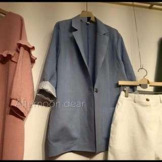 韓妞 西裝外套 灰藍 喬妹風格