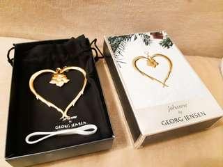 絕版24k gold plated Georg Jensen heart with christmas rose ornament