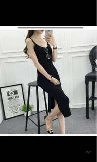 Black slit knitted midi dress