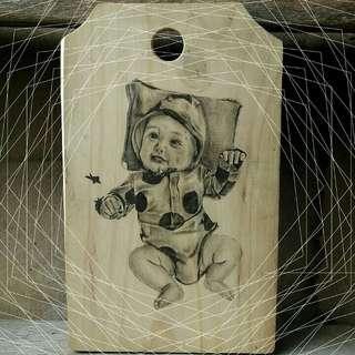 Gambar di kayu & Kertas pake bingkai