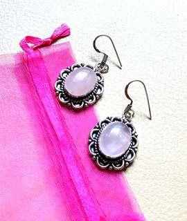 """Lovely Rose Quartz Earrings. 1 3/4"""". Set in 925 Silver."""