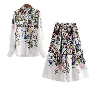 European and American style printing double pocket shirt + elegant printed wide leg pants