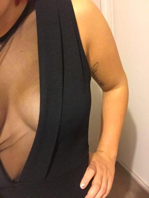 Black V neck mesh jumpsuit
