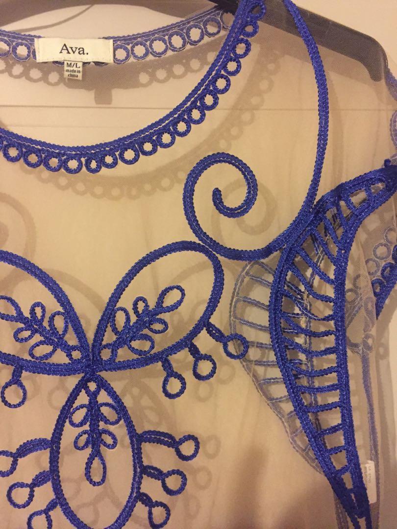 Blue lace mesh crop