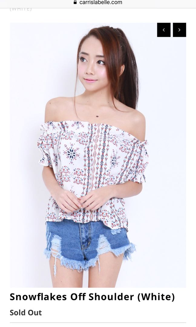 30e2cac8380b5 Carrislabelle Snowflakes Off shoulder top
