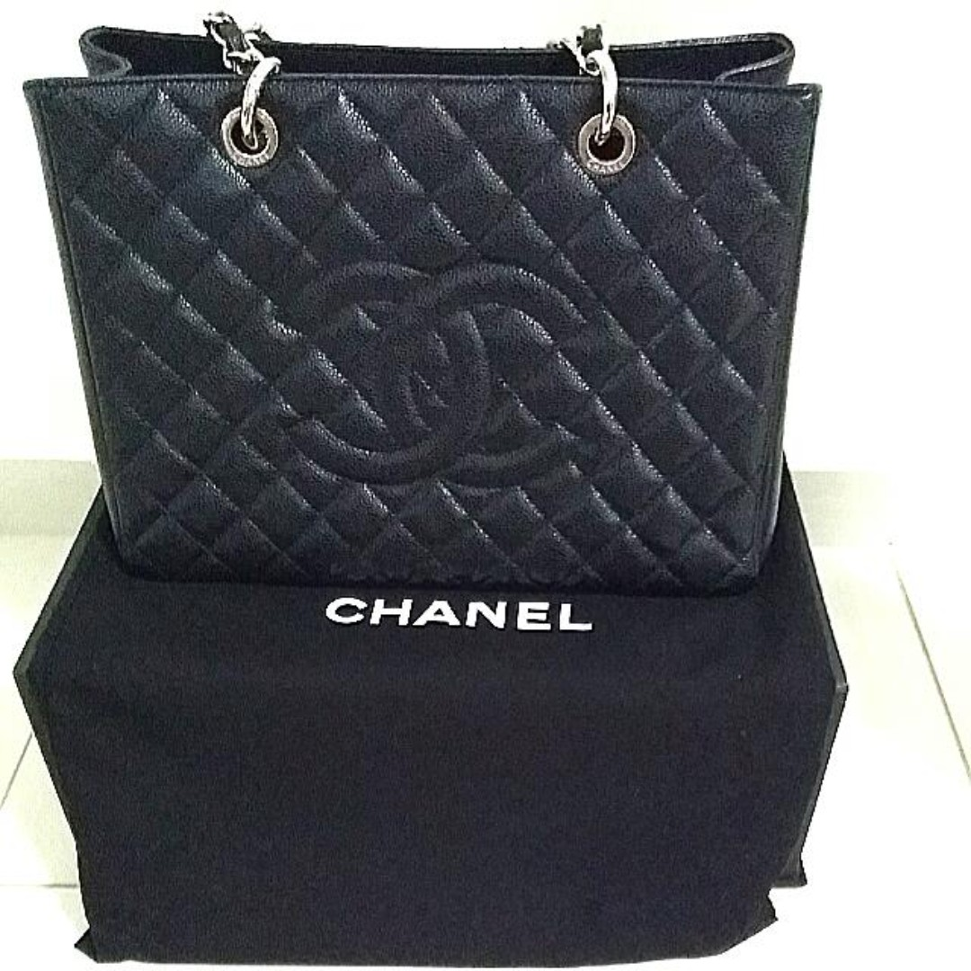 Chanel Black Gst Grand Shopping Tote Bag Discontinued Limited