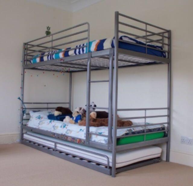 Ikea Svarta Bunk Bed With Trundle And 3 Foam Mattresses Furniture