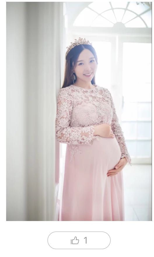 fb929d4c522c0 Maternity pink photoshoot dress lace embroidery, Women's Fashion ...
