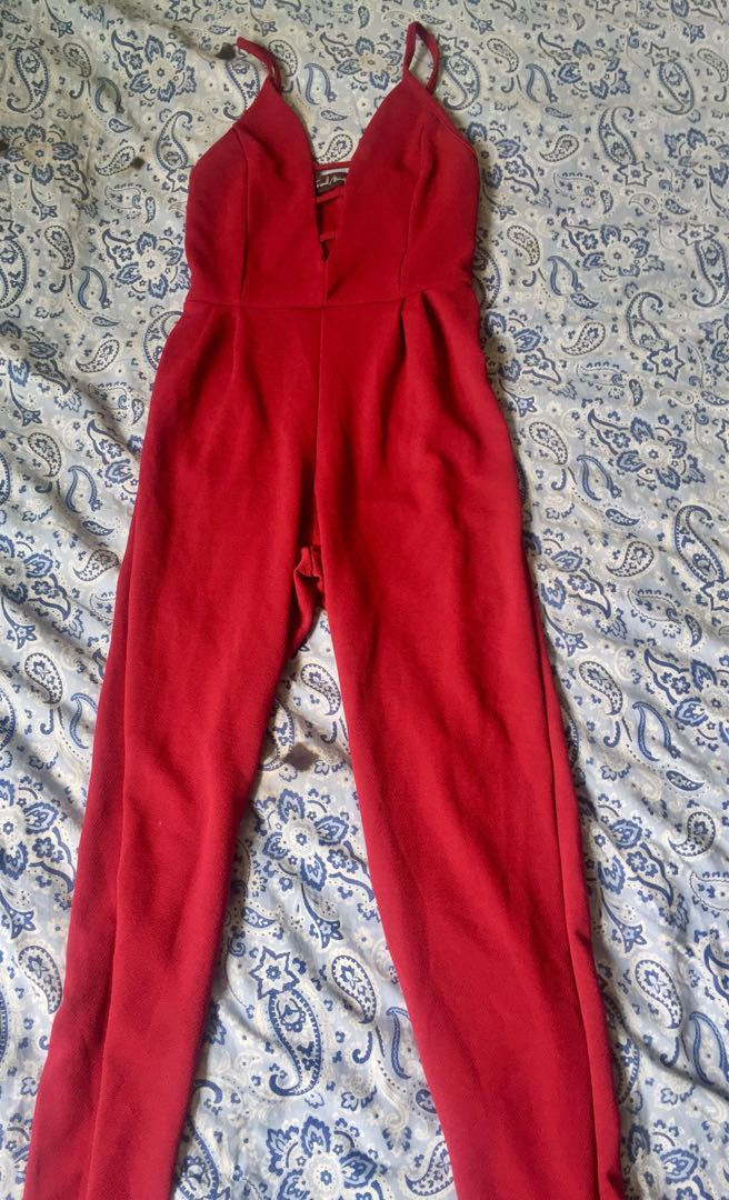 Red Jumpsuit w/ crisscross details on chest